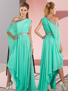 Smart Turquoise Chiffon Side Zipper Pageant Dress for Teens Sleeveless Asymmetrical Sequins