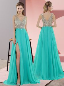 V-neck Sleeveless Pageant Dress for Girls Sweep Train Beading Turquoise Chiffon