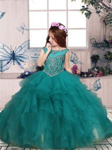 Turquoise Zipper Winning Pageant Gowns Beading and Ruffles Sleeveless Floor Length