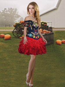Ball Gowns High School Pageant Dress Wine Red Off The Shoulder Organza Sleeveless Mini Length Lace Up