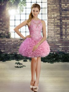 Scoop Sleeveless Fabric With Rolling Flowers Evening Gowns Beading Lace Up
