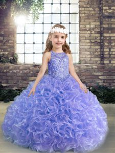 Elegant Lavender Lace Up Child Pageant Dress Beading and Ruffles Sleeveless Floor Length