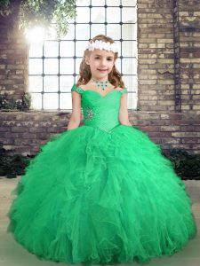 Long Sleeves Beading and Ruffles Lace Up Winning Pageant Gowns