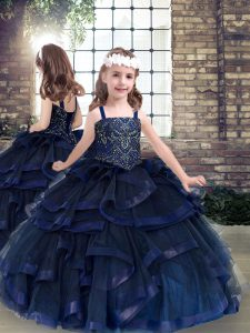Latest Navy Blue Ball Gowns Straps Sleeveless Tulle Floor Length Lace Up Beading and Ruffles Winning Pageant Gowns
