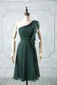 Peacock Green Empire Chiffon One Shoulder Sleeveless Ruching Knee Length Zipper Custom Made Pageant Dress