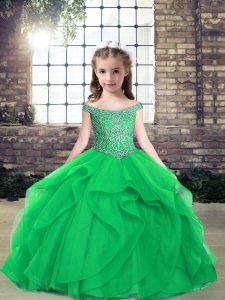 Tulle Off The Shoulder Sleeveless Lace Up Beading Kids Pageant Dress in Green