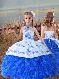 High Class Blue And White Ball Gowns Beading and Embroidery and Ruffles Little Girl Pageant Gowns Lace Up Organza Sleeveless Floor Length