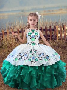 Turquoise Scoop Neckline Embroidery and Ruffles Pageant Gowns For Girls Sleeveless Lace Up