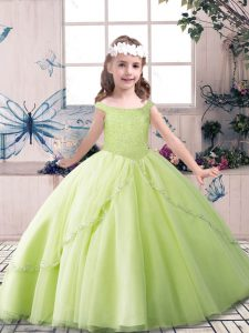 Beading Pageant Gowns For Girls Yellow Green and Pink And White Lace Up Sleeveless Floor Length