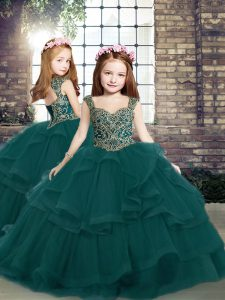 Beading and Ruffles Kids Pageant Dress Peacock Green Lace Up Sleeveless Floor Length