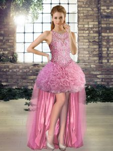 Rose Pink Lace Up Scoop Beading Pageant Dress for Teens Fabric With Rolling Flowers Sleeveless