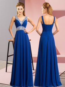 Glorious Royal Blue Sleeveless Chiffon Lace Up High School Pageant Dress for Prom and Party