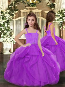 Discount Straps Sleeveless Tulle Kids Formal Wear Ruffles Lace Up