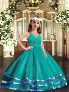 Sleeveless Ruffled Layers Zipper Pageant Gowns For Girls