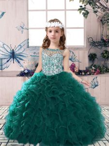 Scoop Sleeveless Pageant Dress Toddler Floor Length Beading and Ruffles Peacock Green Organza