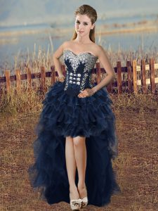 Fantastic Navy Blue Lace Up Pageant Dress for Teens Beading and Ruffled Layers Sleeveless High Low