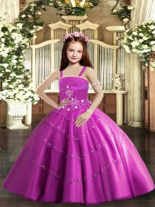 Floor Length Lilac Pageant Dress Toddler Straps Sleeveless Lace Up