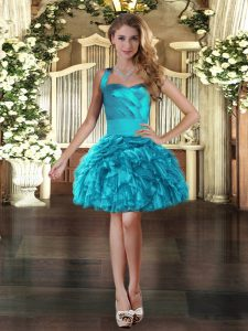 Flirting Turquoise Organza Lace Up Pageant Dress for Teens Sleeveless Mini Length Ruffles
