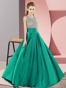 Lovely Turquoise Sleeveless Beading Floor Length Winning Pageant Gowns