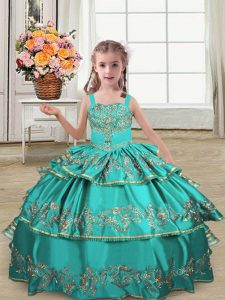 Sweet Turquoise Straps Lace Up Embroidery and Ruffled Layers Little Girl Pageant Dress Sleeveless