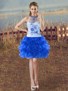 Best Selling Blue And White Lace Up Halter Top Beading and Embroidery and Ruffles Winning Pageant Gowns Organza Sleeveless