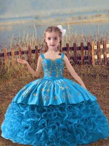 Baby Blue Lace Up Pageant Dress Embroidery Sleeveless Sweep Train
