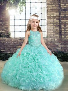 Top Selling Scoop Sleeveless Fabric With Rolling Flowers Pageant Dress for Girls Beading Lace Up