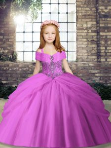 Floor Length Lilac Kids Pageant Dress Straps Sleeveless Lace Up