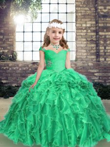Fashionable Turquoise Ball Gowns Organza Straps Long Sleeves Beading and Ruffles Floor Length Lace Up Pageant Gowns For Girls