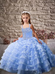 Beading and Ruffled Layers Pageant Gowns Blue Lace Up Sleeveless Brush Train