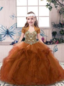 Floor Length Ball Gowns Sleeveless Rust Red Child Pageant Dress Lace Up