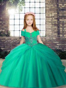 Unique Turquoise Ball Gowns Beading Pageant Dress for Teens Lace Up Tulle Sleeveless Floor Length