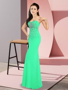 Dramatic Sweetheart Sleeveless Zipper Pageant Dress for Teens Turquoise Chiffon