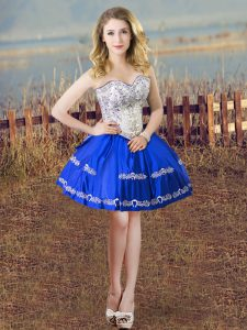 Great Mini Length Ball Gowns Sleeveless Blue And White Pageant Dress for Teens Lace Up