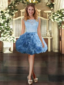 Decent Mini Length Blue Pageant Gowns Fabric With Rolling Flowers Sleeveless Lace