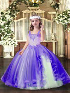Lavender Ball Gowns Beading Little Girls Pageant Dress Lace Up Tulle Sleeveless Floor Length