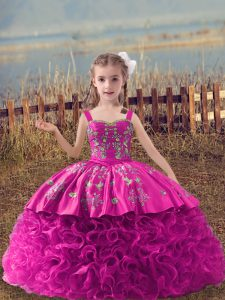 Fuchsia Sleeveless Fabric With Rolling Flowers Sweep Train Lace Up Pageant Dress for Wedding Party