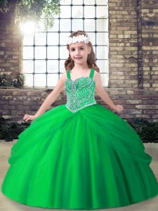 On Sale Floor Length Lace Up Little Girl Pageant Dress for Party and Sweet 16 and Wedding Party with Beading and Pick Ups