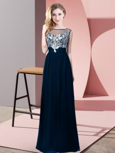 Chic Floor Length Navy Blue Pageant Dresses Scoop Sleeveless Backless