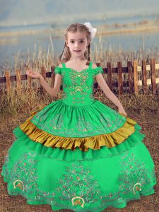Sleeveless Lace Up Floor Length Beading and Embroidery Child Pageant Dress