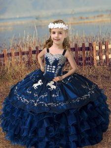 Elegant Navy Blue Lace Up Straps Embroidery and Ruffled Layers High School Pageant Dress Organza Sleeveless