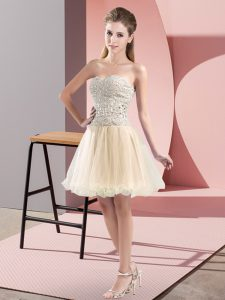 Traditional Beading Pageant Dress for Teens Champagne Zipper Sleeveless Mini Length