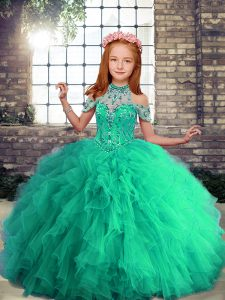 Sleeveless Beading and Ruffles Lace Up Kids Pageant Dress