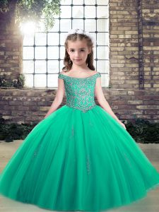 Popular Floor Length Turquoise Pageant Dress Toddler Tulle Sleeveless Appliques