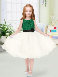 Perfect Sequins and Hand Made Flower Girls Pageant Dresses Champagne Zipper Sleeveless Knee Length