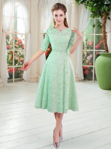 Sexy V-neck Half Sleeves Zipper Evening Gowns Apple Green Lace