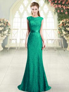 Turquoise Backless Pageant Dress Wholesale Beading and Lace Cap Sleeves Sweep Train