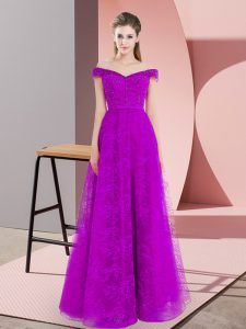 Affordable A-line Glitz Pageant Dress Purple Off The Shoulder Sleeveless Floor Length Lace Up