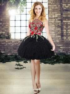 Dazzling Black Organza Lace Up Scoop Sleeveless Mini Length High School Pageant Dress Embroidery and Ruffles