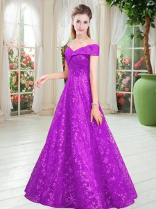 Purple Lace Lace Up Pageant Dress for Teens Sleeveless Floor Length Beading